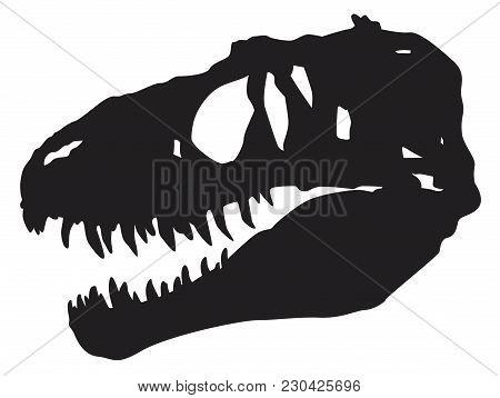 Vector Silhouette Of A Skull Of A Dinosaur