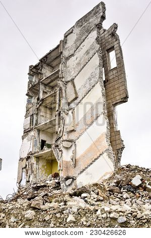 The Remains Of Concrete Walls Of The Building After The Explosion