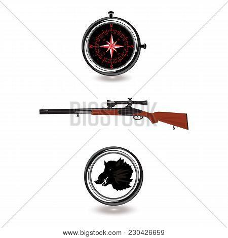 Hunter Kit. Compass, Pistol, Emblem Of Wild Boar Head - Isolated On White Background - Art Of Creati