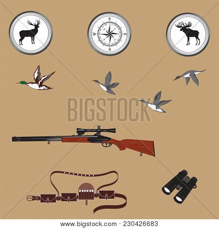 Hunting Banner. Compass, Gun With Night Vision Device, Emblems Deer And Moose, Binoculars, Bandolier