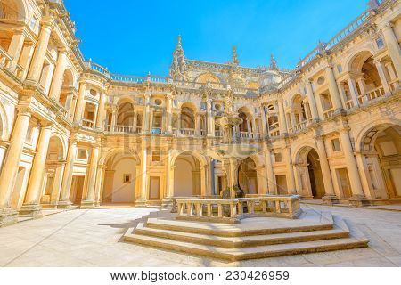 Portugal, Tomar. Bottom View Of Claustro De D. Joao Iii, Courtyard With Fountain Of Convent Of Chris