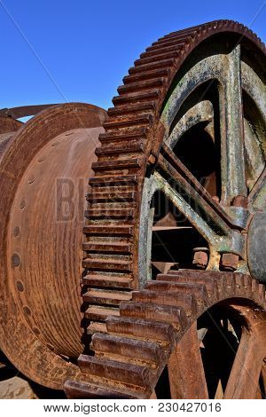 Heavy Duty Industrial Gears, Pulleys, And Cogs Used In The Process Of Mining Copper