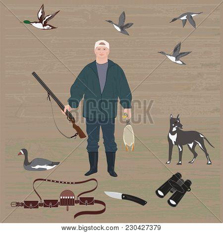 Set Hunter With Gun Holds Duck In Hands, Dog, Bandolier, Binoculars, Knife, Flying Ducks, Goose, Art
