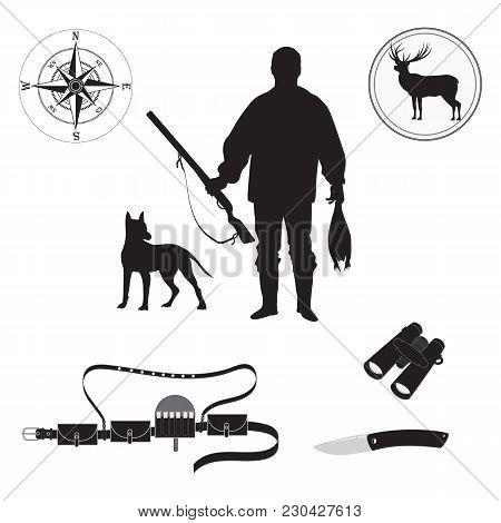 Set Of Sketch Huntsman With Gun, Duck, Deer, Dog, Compass, Bandolier, Binoculars, Hunting Knife, Iso