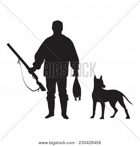 Sketch Of A Hunter With A Gun Holding A Duck In Hands Next To A Standing Dog Isolated On White Backg