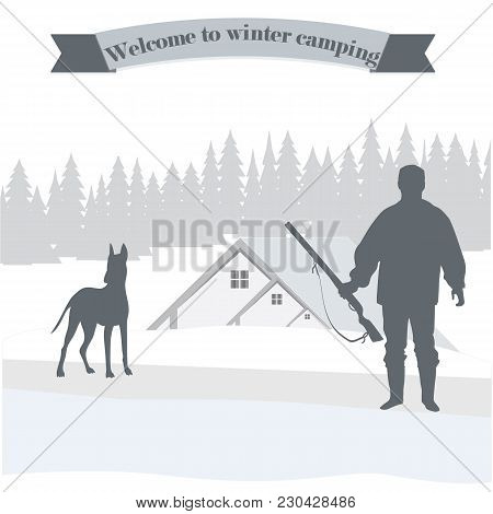 Silhouette Hunter With A Gun Dog Camping Winter Landscape Abstract Art Creative Modern Illustration