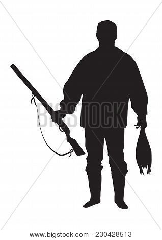 Sketch Of A Hunter With A Gun Holding A Bird Isolated On A White Background Art Creative Modern Vect