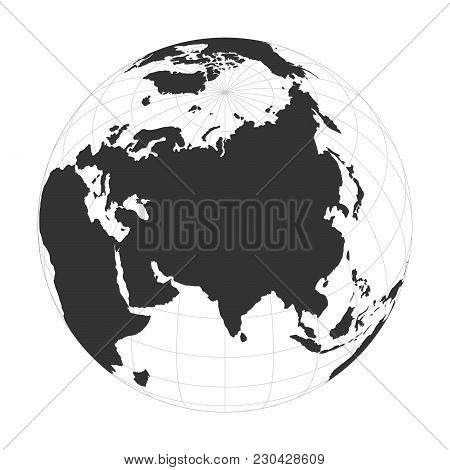 Vector Earth Globe Focused On Asia Continent.