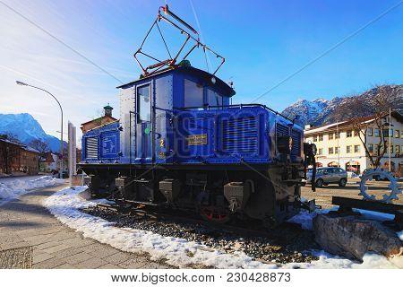 Garmisch-partenkirchen, Germany - January 6, 2015: Discarded Electric Cog Locomotive Of The Bavarian