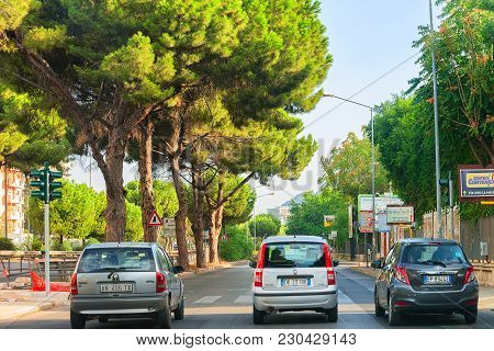 Palermo, Italy - September 16, 2017: Street View On Road With Cars In Palermo, Sicily In Italy
