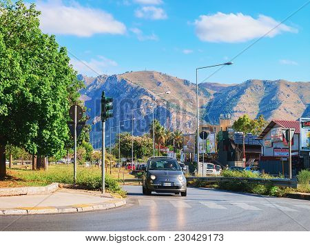 Palermo, Italy - September 16, 2017: Car On Road In Palermo, Sicily In Italy