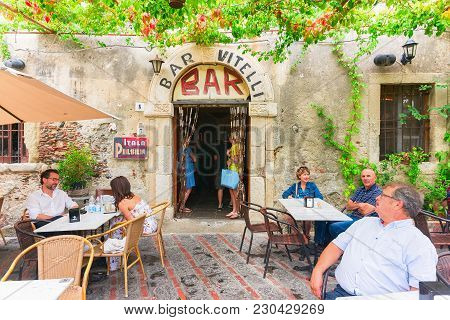 Savoca, Italy - September 27, 2017: Vitelli Bar With Tourists In Savoca, Sicily, Italy. It Is A Plac