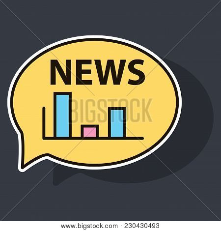 Sticker Breaking News Online Announcement Message Line With Message About Latest News