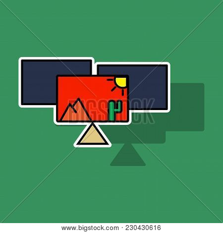 Pile Of Photos. Photo Of Traveling. Vector Cartoon Modern Trendy Stylish Sticker Illustration Icon D