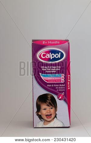 March 10th, 2018, Cork, Ireland - Calpol For Children Oral Suspension Paracetamol Box.