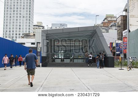 Kuala Lumpur, Malaysia - December 31,2017 :entrance To The Latest Public Transportation System In Kl