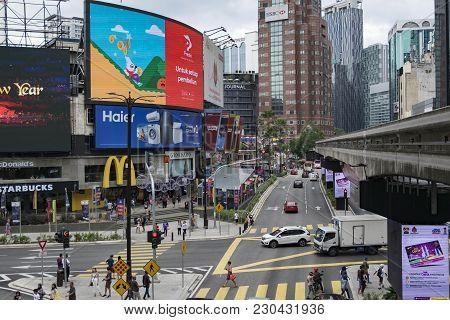 Kuala Lumpur, Malaysia - December 31,2017 : Bukit Bintang Area Is Kuala Lumpur Golden Triangle Comme
