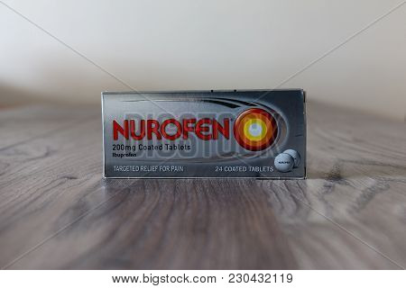 March 10th, 2018, Cork, Ireland - Box Of Nurofen Ibuprofen Coated Tablets