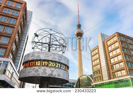 Berlin, Germany - December 10, 2017: Urania World Clock With Television Tower On Alexanderplatz In B