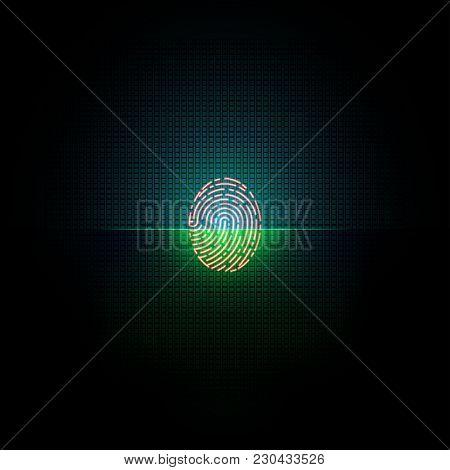 Electronic Fingerprint On Pass Scanning Screen, Security Check. Futuristic Technology For Digital Bi