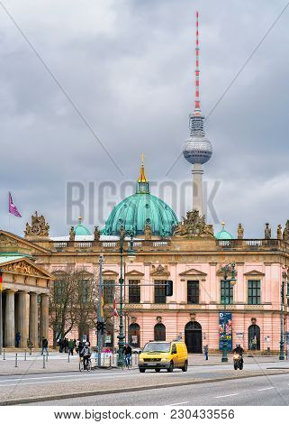 Berlin, Germany - December 12, 2017: Street Of Berlin With Berliner Dom Cathedral And Television Tow