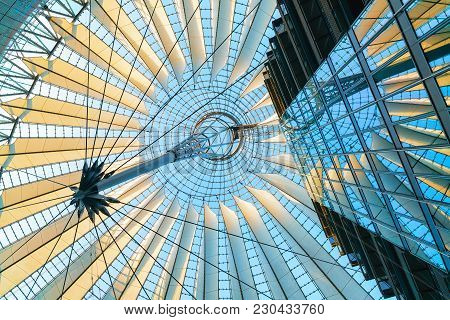 Berlin, Germany - December 13, 2017: Roof In Sony Center At Potsdamer Platz In The Downtown Of Berli