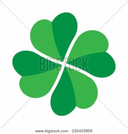 Shamrock - Green Four Leaf Clover Icon. Good Luck Theme Design Element. Simple Twisted Shape Vector