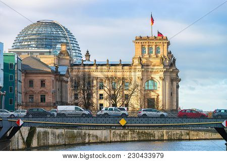 Berlin, Germany - December 8, 2017: Reichstag Building And Spree River In Berlin, Capital Of Germany