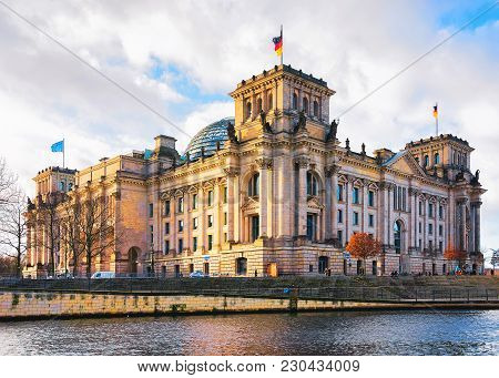 Berlin, Germany - December 8, 2017: Reichstag Building At Spree River In Berlin, Capital Of Germany