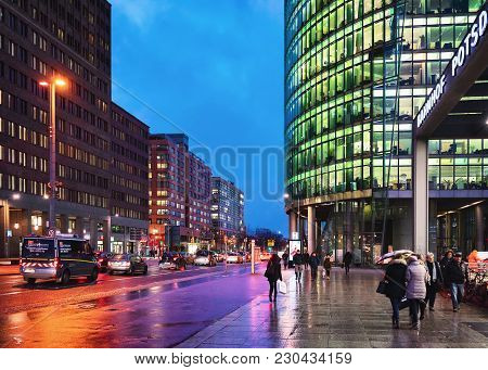 Berlin, Germany - December 12, 2017: People At Potsdamer Platz In The Downtown Of Berlin At The Even