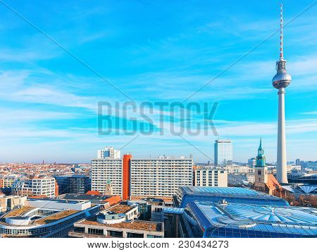 Berlin, Germany - December 13, 2017: Panoramic View On City Center With Television Tower In Berlin,