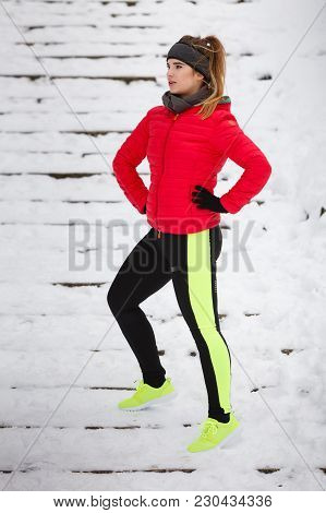 Outdoor Sport Exercises, Sporty Outfit Ideas. Woman Wearing Warm Sportswear Running Jogging Outside