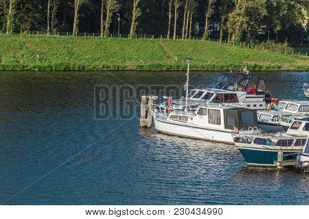 Wharf Of Boats In A Small Place Of Canal In Netherlands