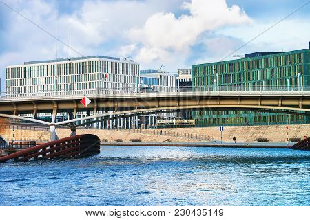 Berlin, Germany - December 8, 2017: Business Downtown And Bridge Over Spree River, At Berlin Mitte,