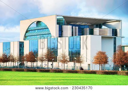 Berlin, Germany - December 8, 2017: Bundeskanzleramt Building In Berlin Mitte, Germany