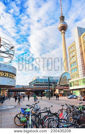 Berlin, Germany - December 10, 2017: Bicycles At Urania World Clock And Television Tower On Alexande