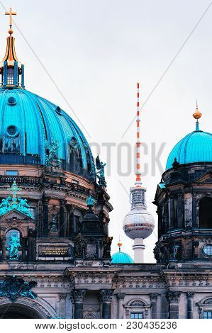Berlin, Germany - December 12, 2017: Berliner Dom Cathedral With Television Tower, Berlin, Of German