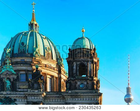 Berlin, Germany - December 13, 2017: Berliner Dom Cathedral With Television Tower, Berlin, Germany