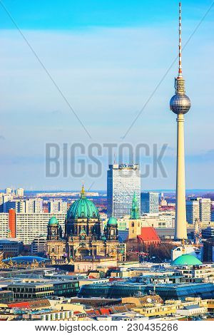 Berlin, Germany - December 13, 2017: Berliner Dom Cathedral And Television Tower, Berlin, Germany
