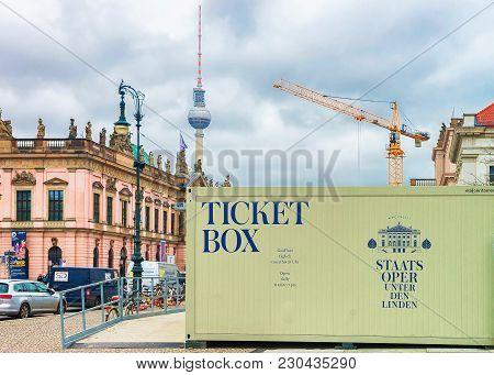 Berlin, Germany - December 12, 2017: Advertising Og Ticket Box Of Berlin State Opera And Television