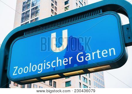 Zoological Garden Station direction plate in Berlin, Germany poster