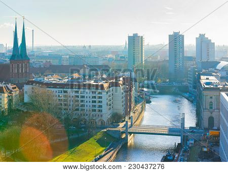Cityscape With Spree River In Berlin, Germany
