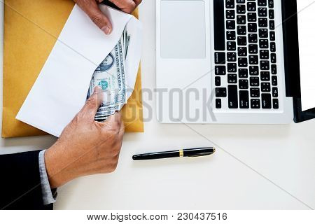 Business Man Counting Money At The Table, Accounting Concept