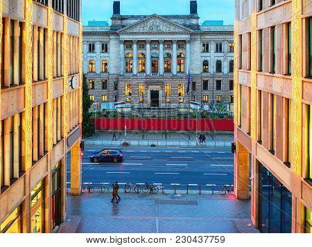 Bundesrat Building In Berlin, Germany. In The Evening