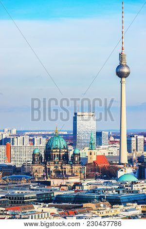 Berliner Dom Cathedral And Television Tower In Berlin, Germany