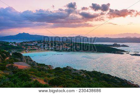 Sunset At Baja Sardinia Beach, Costa Smeralda, Sardinia Of Italy
