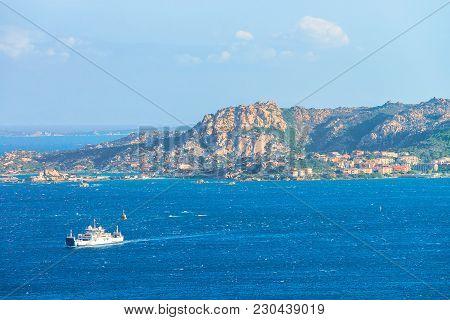 Ship At Maddalena Island In Costa Smeralda Resort In Mediterranean Sea, Sardinia, Italy