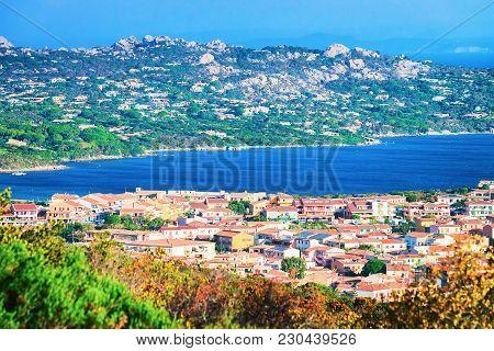 Landscape of Palau and Maddalena Island at Costa Smeralda resort in Mediterranean sea, Sardinia, Italy poster