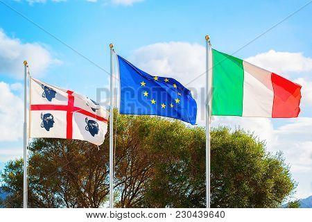 Flags Of Sardinia, European Union And Italian Flag, Costa Smeralda, Sardinia, Italy