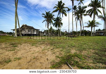 Beautiful Nature Landscape Of Traditional Fishing Village Located In Terengganu, Malaysia.